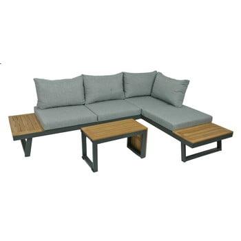 Set mobilier de grădină din 3 piese, cadru din aluminiu ADDU Felice, gri