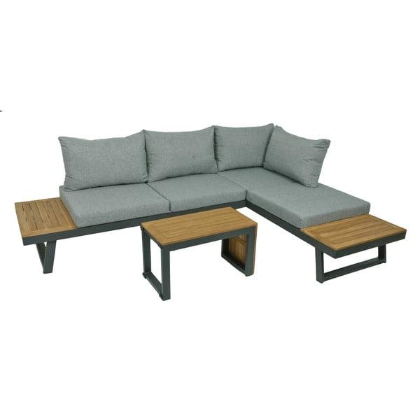 3-dielna sivá záhradná sedacia súprava so stolíkom s konštrukciou z hliníku ADDU Felice