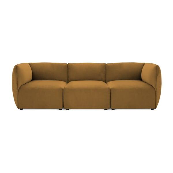 Canapea modulară cu 3 locuri Vivonita Velvet Cube, galben muștar