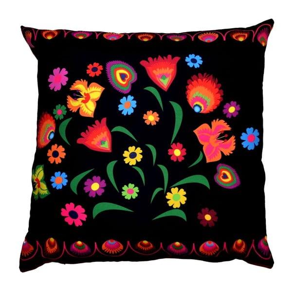 Polštář s náplní Folk Flowers Black, 40x40 cm
