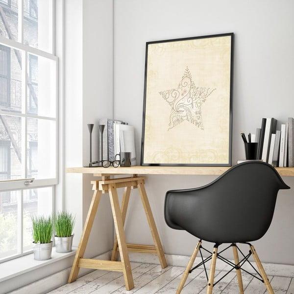 Plakát v dřevěném rámu Light star, 38x28 cm