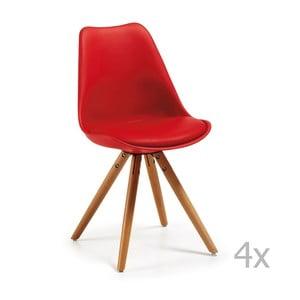 Set 4 scaune cu picioare din lemn La Forma Lars, roșu