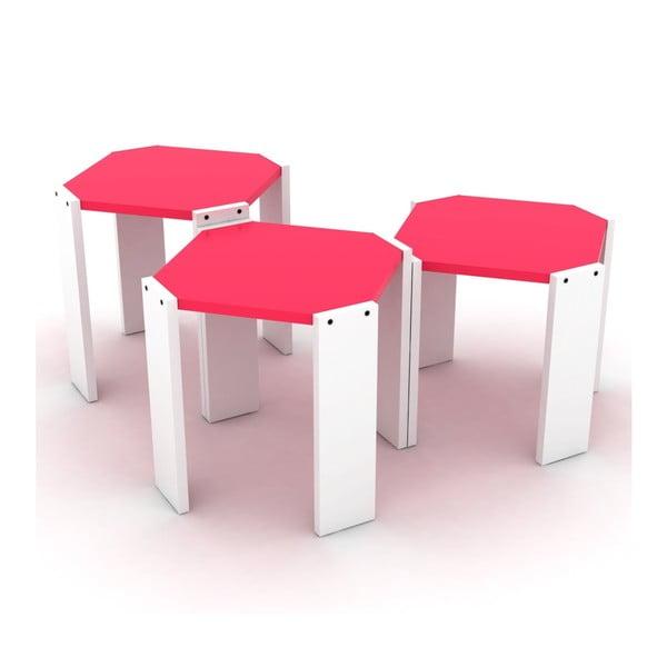 Zestaw 3 białych stolików z różowym blatem Rafevi Hansel