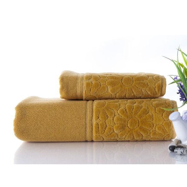 Sada 2 ručníků Samba Mustard, 50x90 cm a 70x140 cm