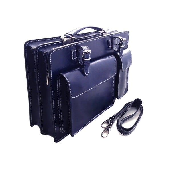 Kožená kabelka/kufřík Cortese, modrá