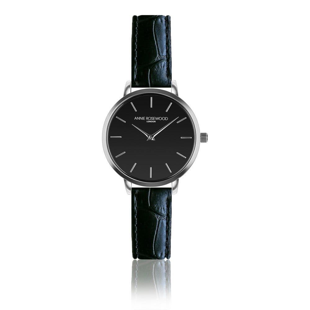 Černé hodinky skoženým řemínkem Annie Rosewood Night