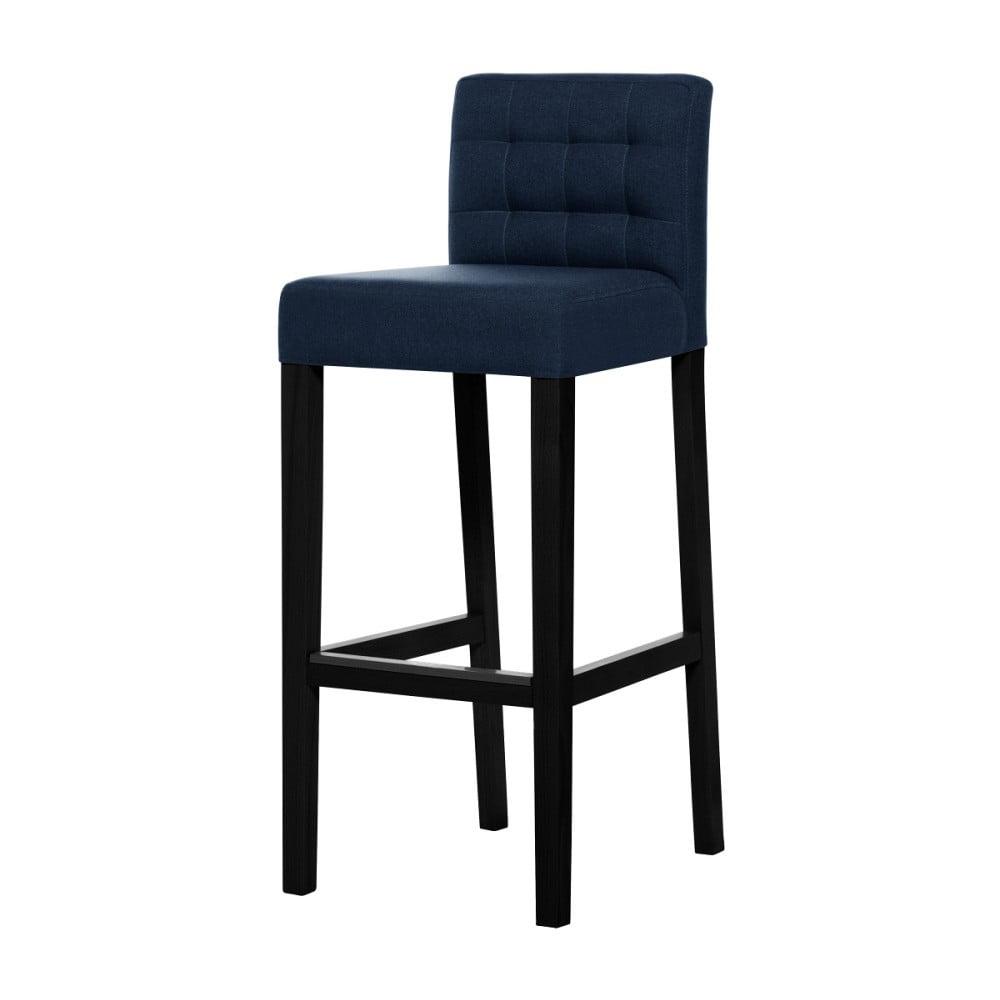 Modrá barová židle s černými nohami Ted Lapidus Maison Jasmin