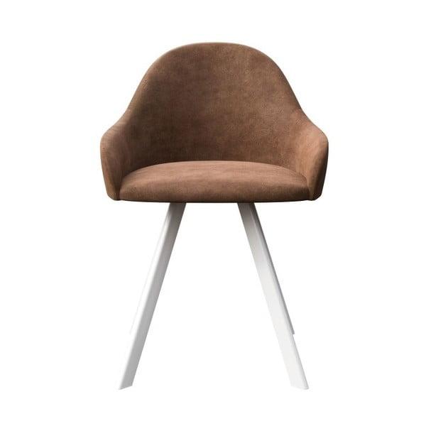 Hnědá jídelní židle s bílými nohami MESONICA Brook