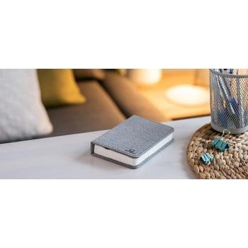 Veioză de birou cu LED Ginko Booklight Mini, formă de carte, gri