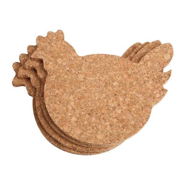 Set 4 suporturi pentru pahare T&G Woodware Chicken