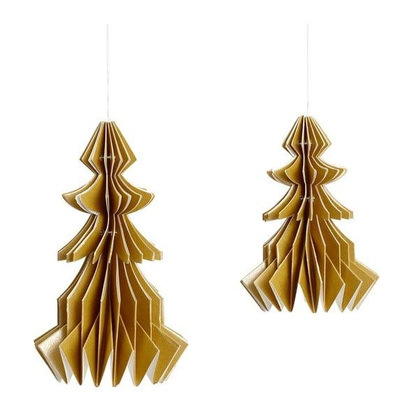 Ozdoba vánoční stromek, papírová, zlatý, 2 ks