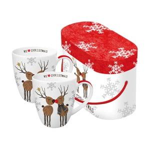 Sada 2 hrnků z kostního porcelánu s vánočním motivem v dárkovém balení PPD We Love Christmas, 350 ml