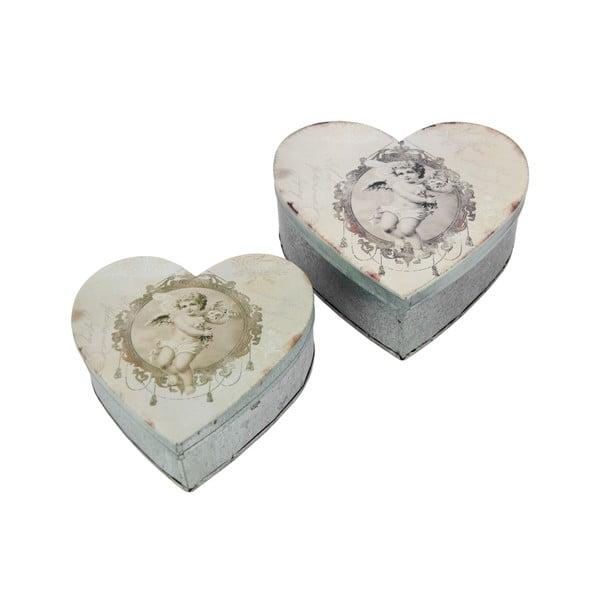 Set 2 recipiente metalice Antic Line Heart Box