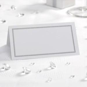 Set 50 carduri masă pentru nume Neviti Simply Love, alb argintiu
