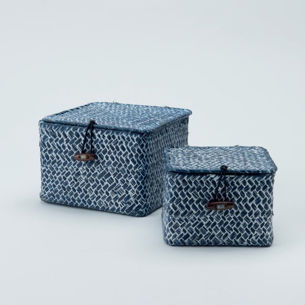 Zestaw 2 niebieskich koszyków trzcinowych Compactor Lidwhite