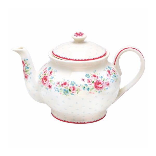 Biały dzbanek do herbaty z kwiatowym motywem Green Gate Hailey