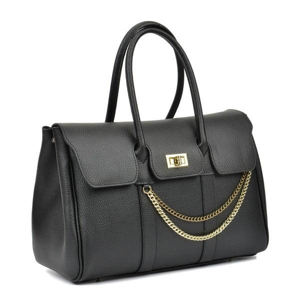 Černá kožená kabelka Mangotti Bags Felipa