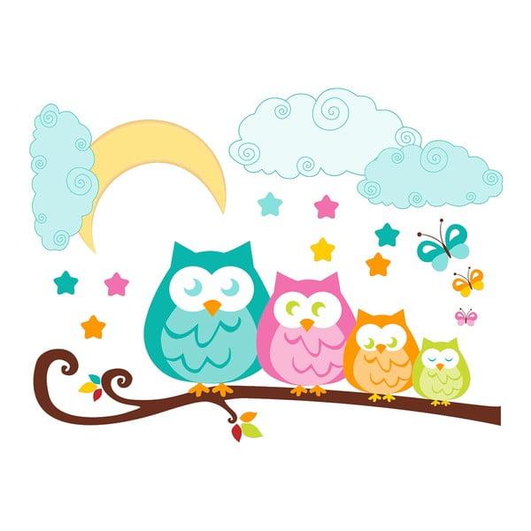 Nástěnná dětská samolepka Ambiance Owls in family