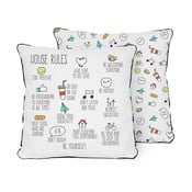 Polštář Pillow House Rules, 45 x 45 cm