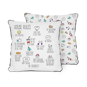 Pernă Pillow House Rules, 45 x 45 cm