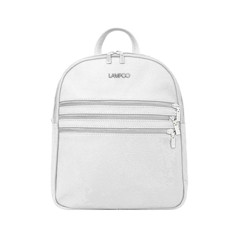 Bílý kožený batoh Lampoo Kato