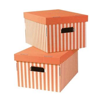 Set 2 cutii pentru depozitare Compactor Stripes, portocaliu de la Compactor