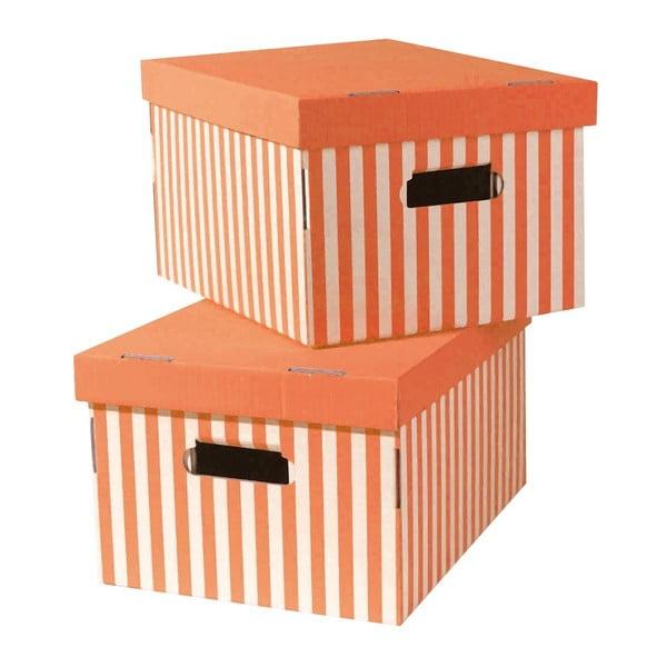 Set 2 úložných krabic Stripes, oranžová