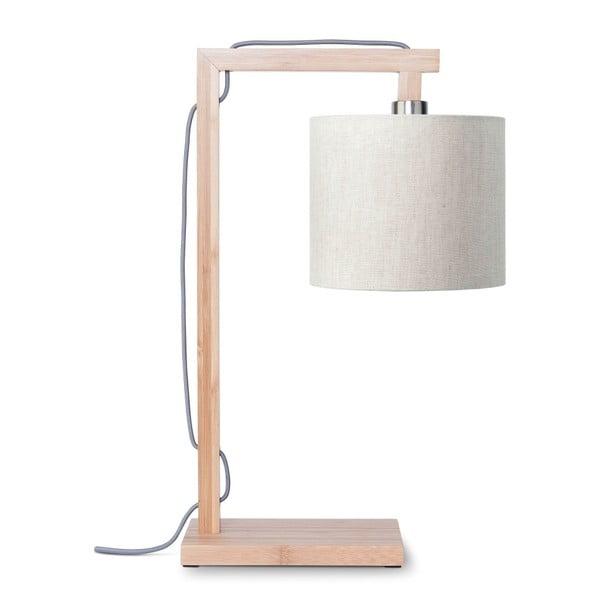 Himalaya asztali lámpa világosbézs búrával és bambusz lámpatesttel - Good&Mojo