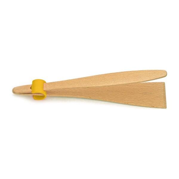 Kleště na maso se žlutým detailem z bukového dřeva Jean Dubost Handy, délka 25 cm