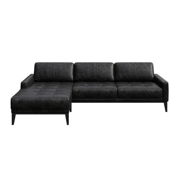 Musso Tufted fekete bőr kanapé bal oldali fekvőfotellel - MESONICA