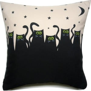 Polštář Kočky v noci, 40x40 cm