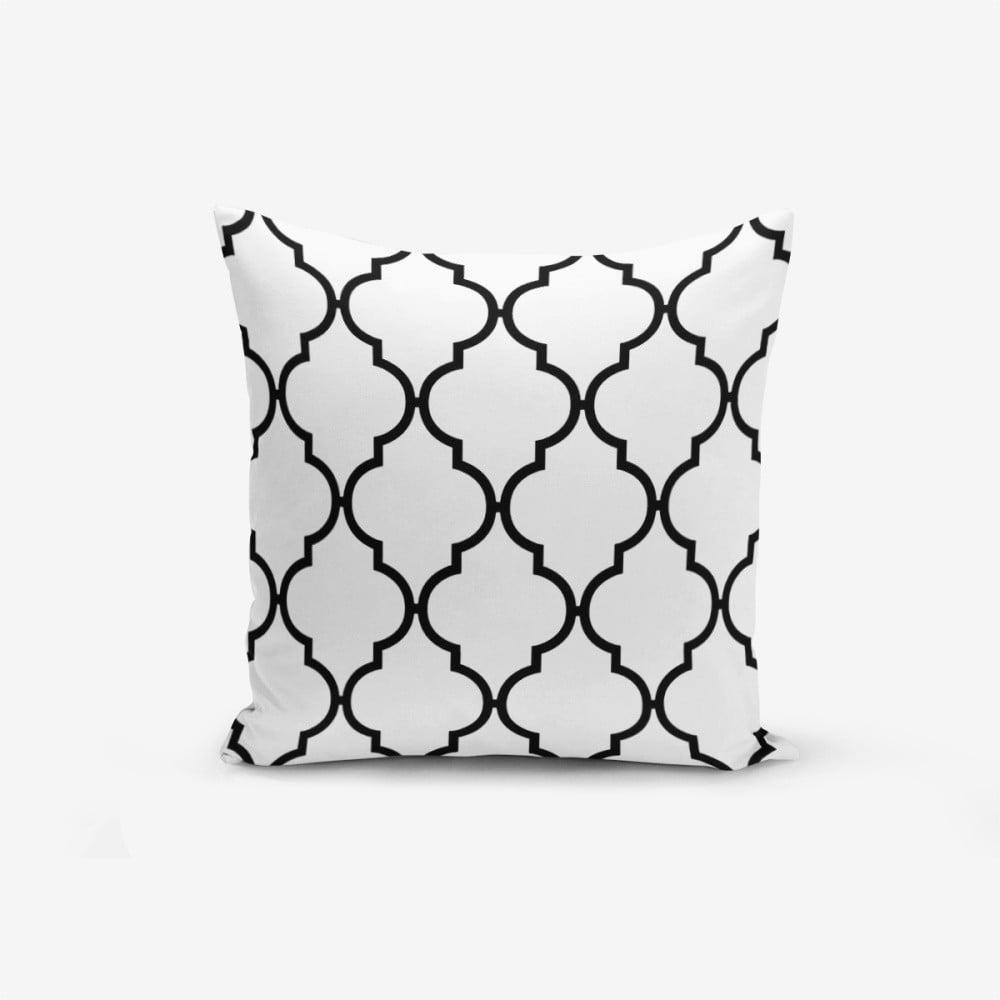 Černo-bílý povlak na polštář s příměsí bavlny Minimalist Cushion Covers Black White Ogea, 45 x 45 cm