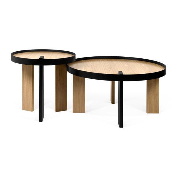 Konferenční stolek v dubovém dekoru s černými detaily TemaHome Bruno