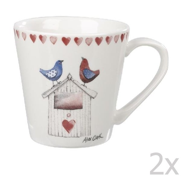 Sada 2 ks hrnků Lovebirds, 285 ml