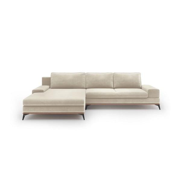Béžová rozkladacia rohová pohovka so zamatovým poťahom Windsor & Co Sofas Astre, ľavý roh