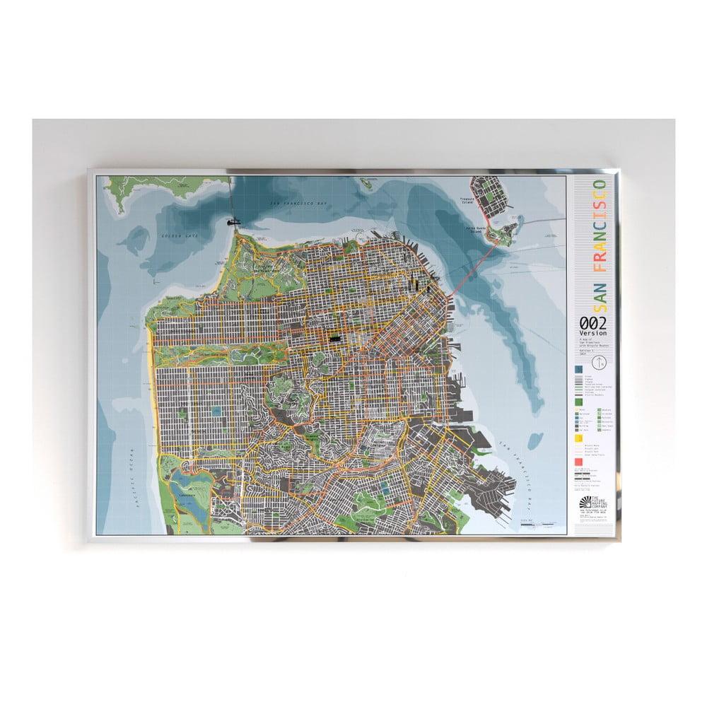 Mapa San Francisca v průhledném pouzdru The Future Mapping Company Street Map, 100 x 70 cm