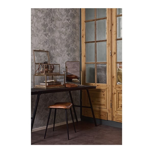 Stolička s olivově zeleným koženým sedákem De Eekhoorn Hunt