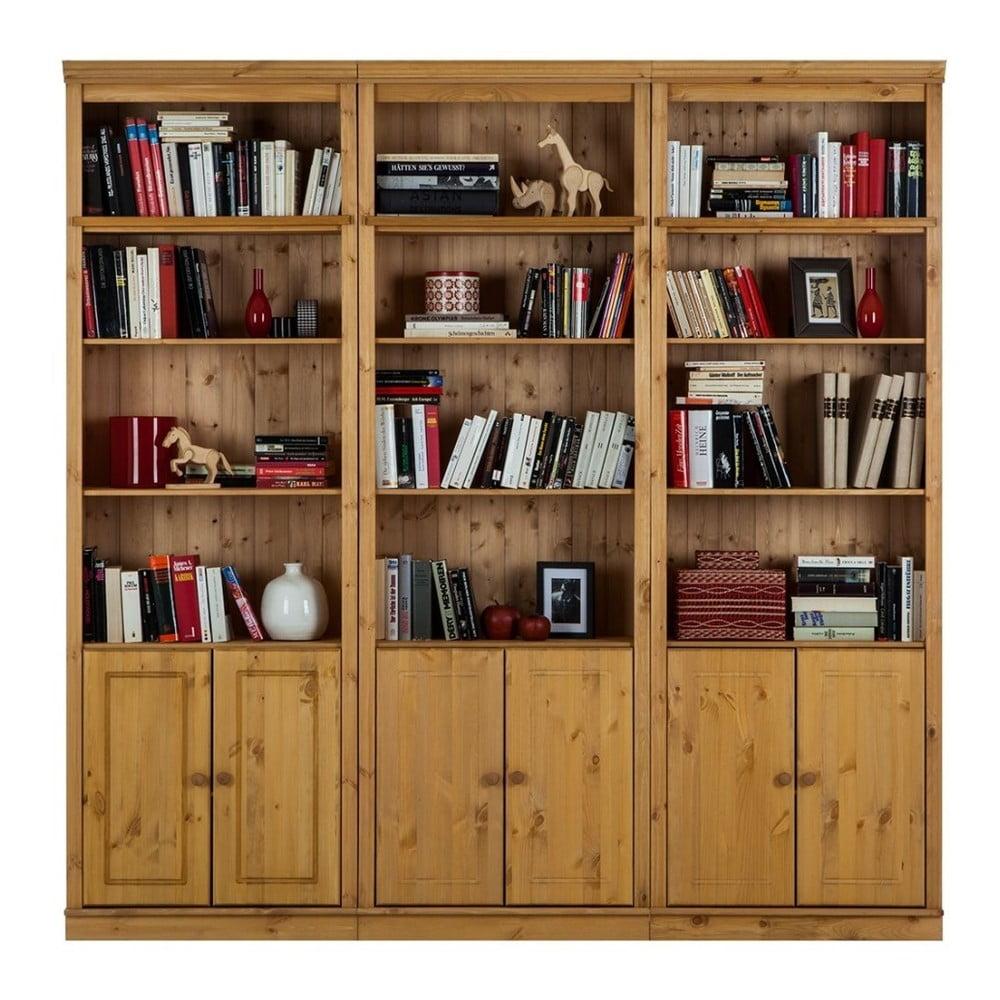 Hnědá knihovna z borovicového masivu Støraa Annabelle, výška 219 cm