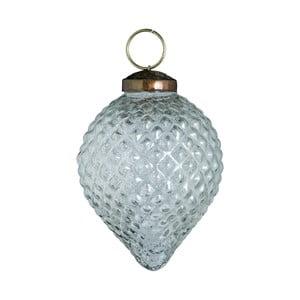 Set šesti skleněných ozdob Diamond drop, 7 cm, antique, průhledná