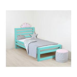 Dětská tyrkysově modrá dřevěná jednolůžková postel Benlemi DeLuxe, 160x120cm
