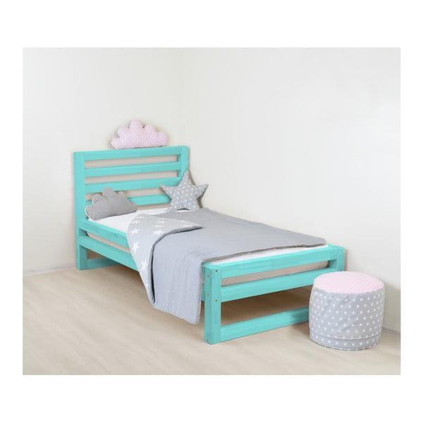 Detská tyrkysovomodrá drevená jednolôžková posteľ Benlemi DeLuxe, 160 × 120 cm