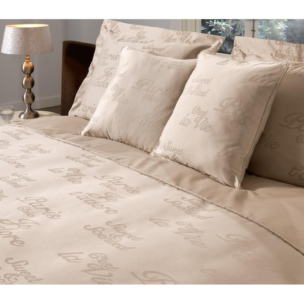 Povlečení na dvoulůžko z bavlněného saténu Muller Textiels Paris Sand, 200 x 240 cm