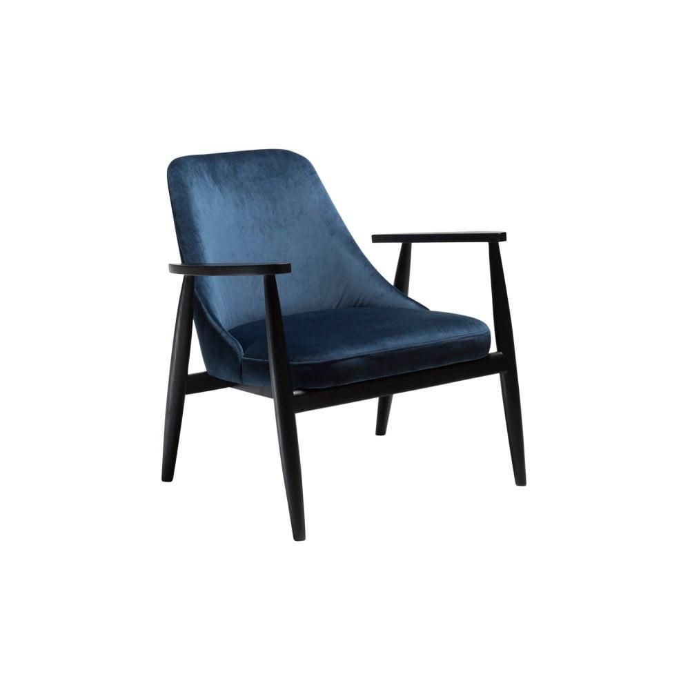 Tmavě modré křeslo s konstrukcí z jasanového dřeva DAN-FORM Denmark Saga