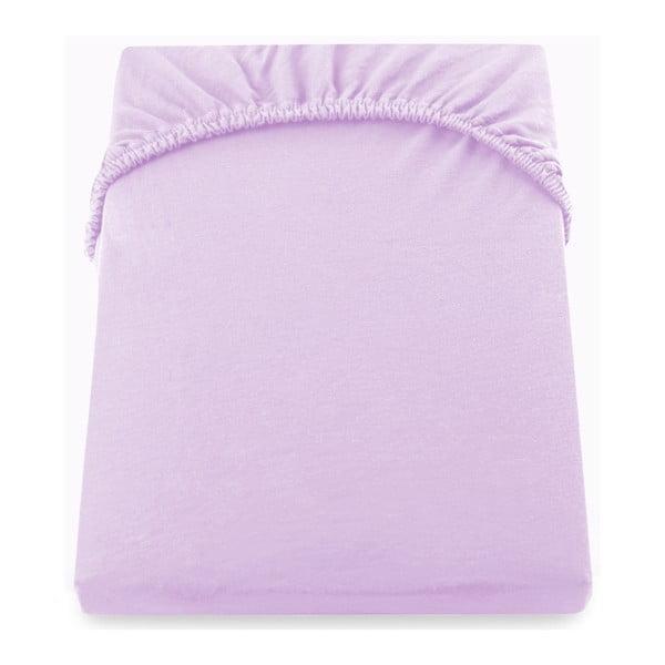 Cearșaf de pat cu elastic DecoKing Nephrite, 220–220 cm, lila