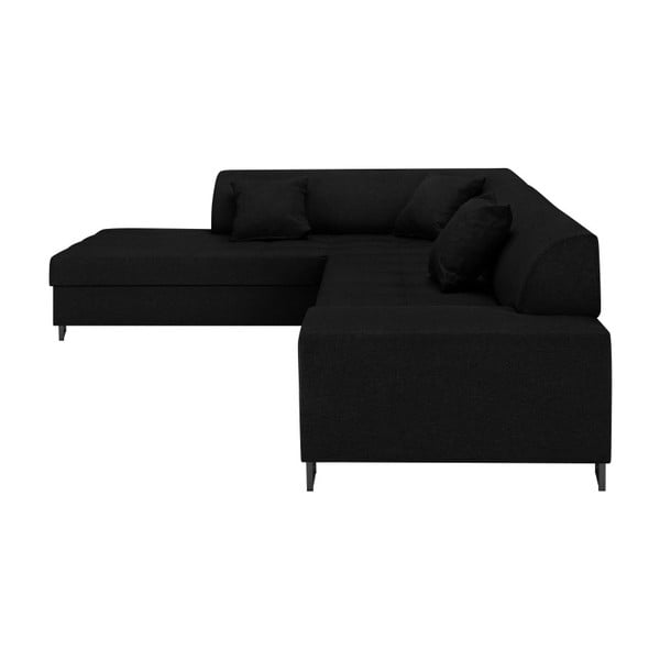 Černá rohová rozkládací pohovka s nohami v černé barvě Cosmopolitan Design Orlando, levý roh