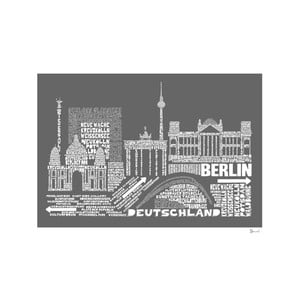 Plakát Berlin Grey&White, 50x70 cm