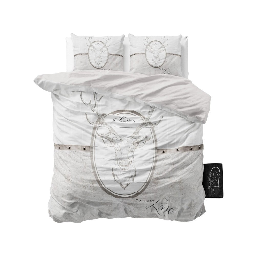 Světle šedé povlečení z mikroperkálu Sleeptime My Deer Love, 200 x 220 cm