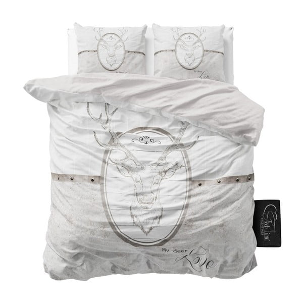 Světle šedé povlečení z mikroperkálu na dvoulůžko Sleeptime My Deer Love,200x220cm
