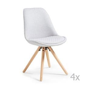 Sada 4 světle šedých jídelních židlí La Forma Lars