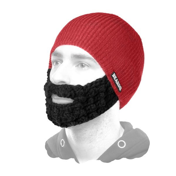 Căciulă cu barbă, Beardo Attached, roșu-negru